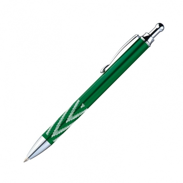 Logo trade promotional merchandise photo of: Metal ball pen 'Kade'  color green